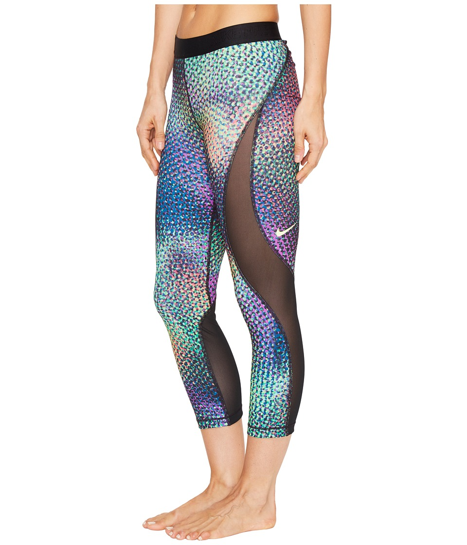 Nike - Pro Hypercool Woven Printed Training Capri (Ghost Green/Black/Ghost Green) Women's Capri