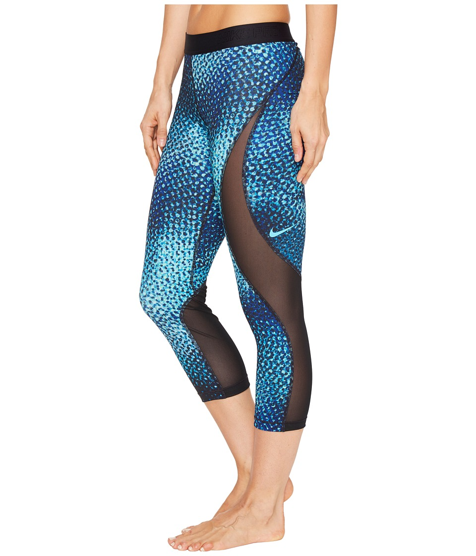 Nike - Pro Hypercool Woven Printed Training Capri (Chlorine Blue/Black/Black) Women's Capri
