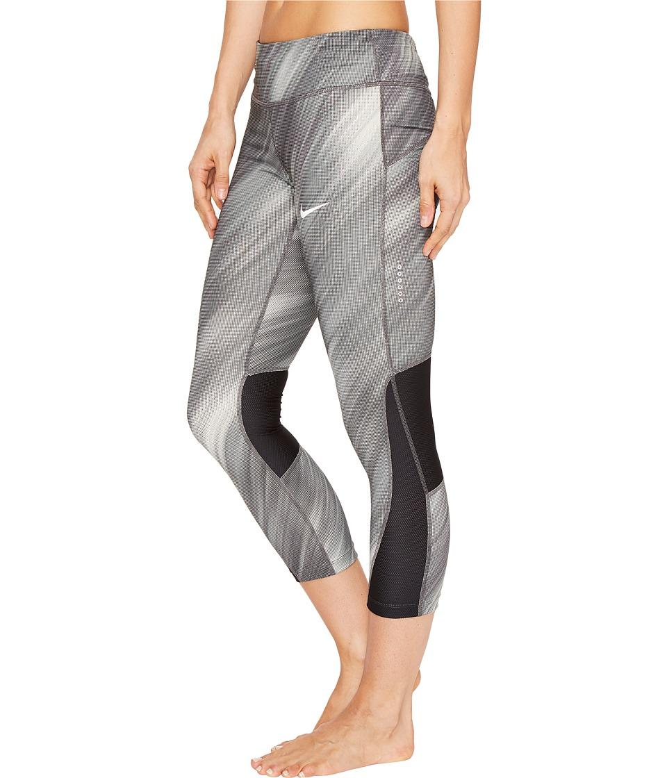 Nike - Power Racer Print Running Crop (Black/Black) Women's Clothing