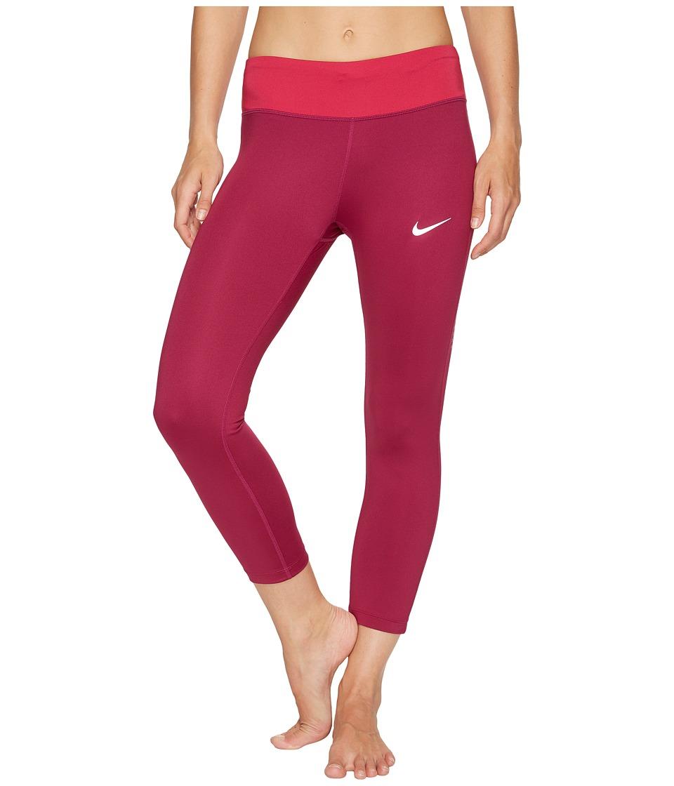 Nike - Power Essential Running Crop (True Berry/Sport Fuchsia) Women's Clothing