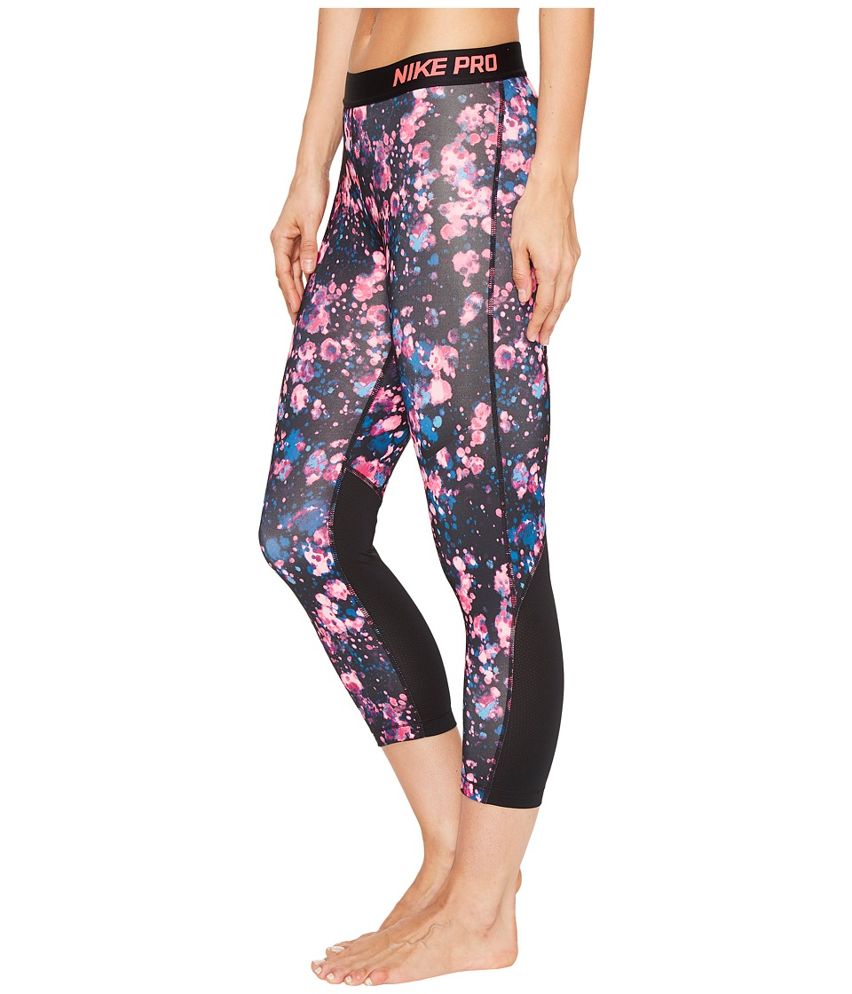 Nike Pro Cool Microcosm Print Training Capri (Racer Pink/White) Women