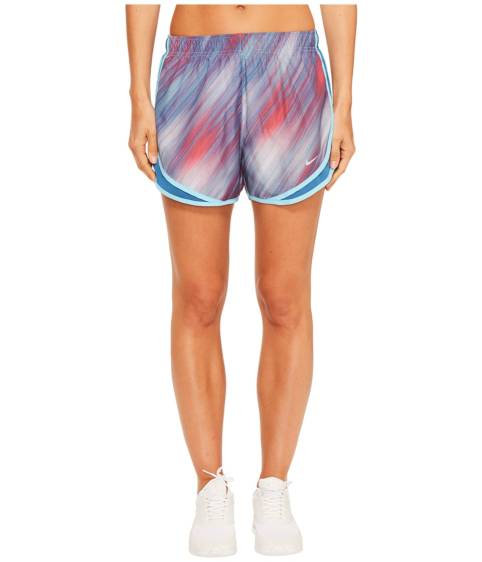 Nike - Dry Tempo Print Running Short (Vivid Sky/Racer Pink/Wolf Grey) Women's Shorts