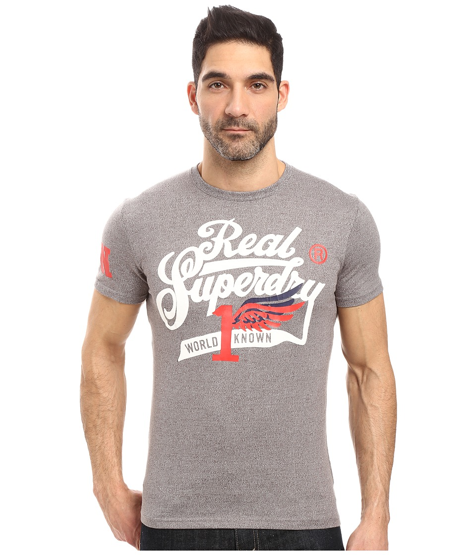 Superdry - Double Drop Grit Tee (Dark Marl Grit) Men's T Shirt