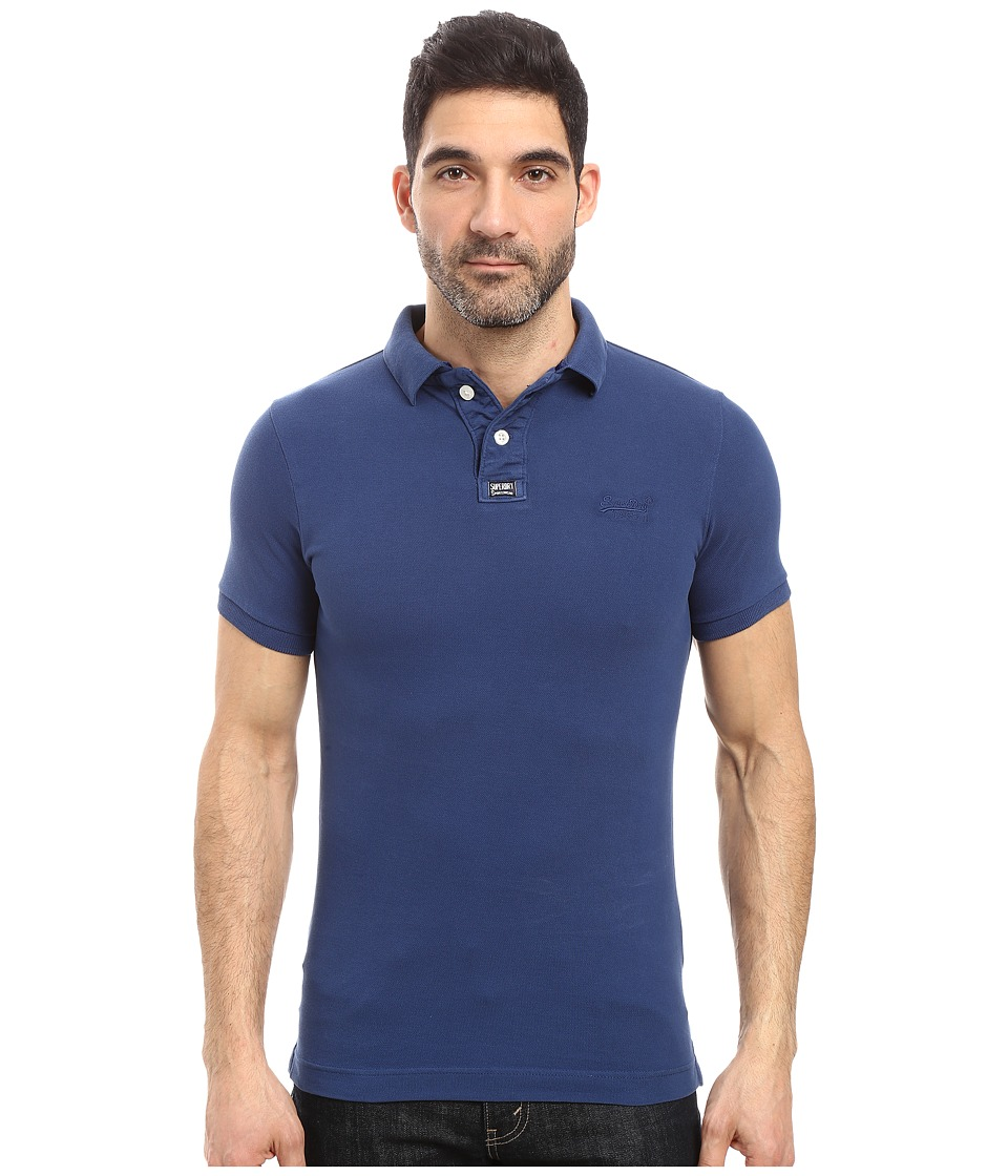 Superdry - Vintage Destroy Short Sleeve Pique Polo (Nautical Blue) Men's Short Sleeve Knit