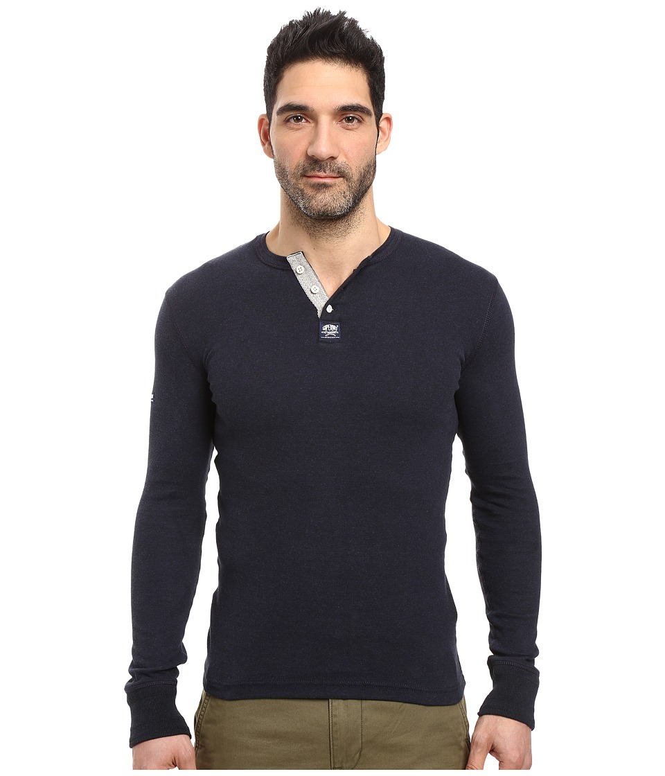 Superdry - Heritage Long Sleeve Grandad (Eclipse Navy Marl) Men's T Shirt