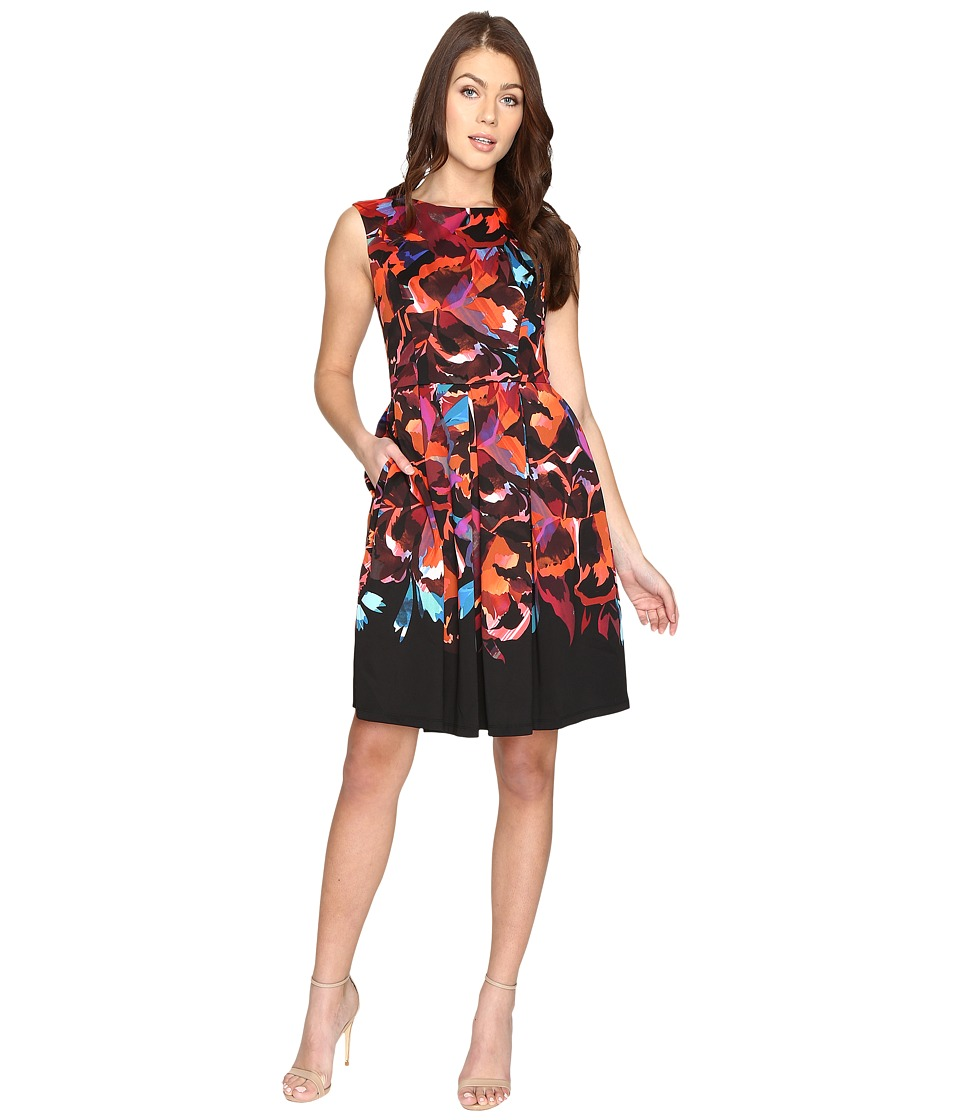 Maggy London - Techno Blossom Scuba Fit and Flare Dress (Black/Multi) Women's Dress