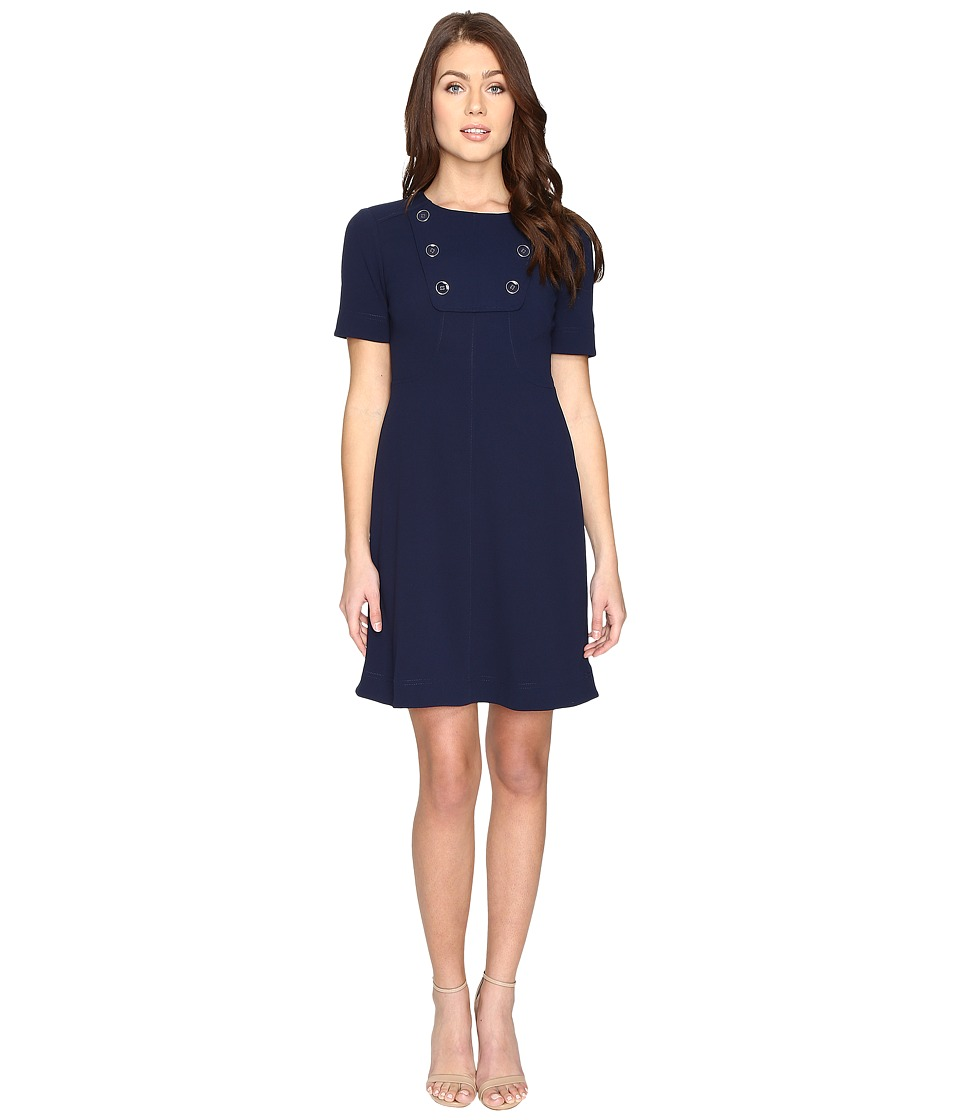 Maggy London Scuba Crepe Elbow Sleeve Fit and Flare Dress (Navy) Women