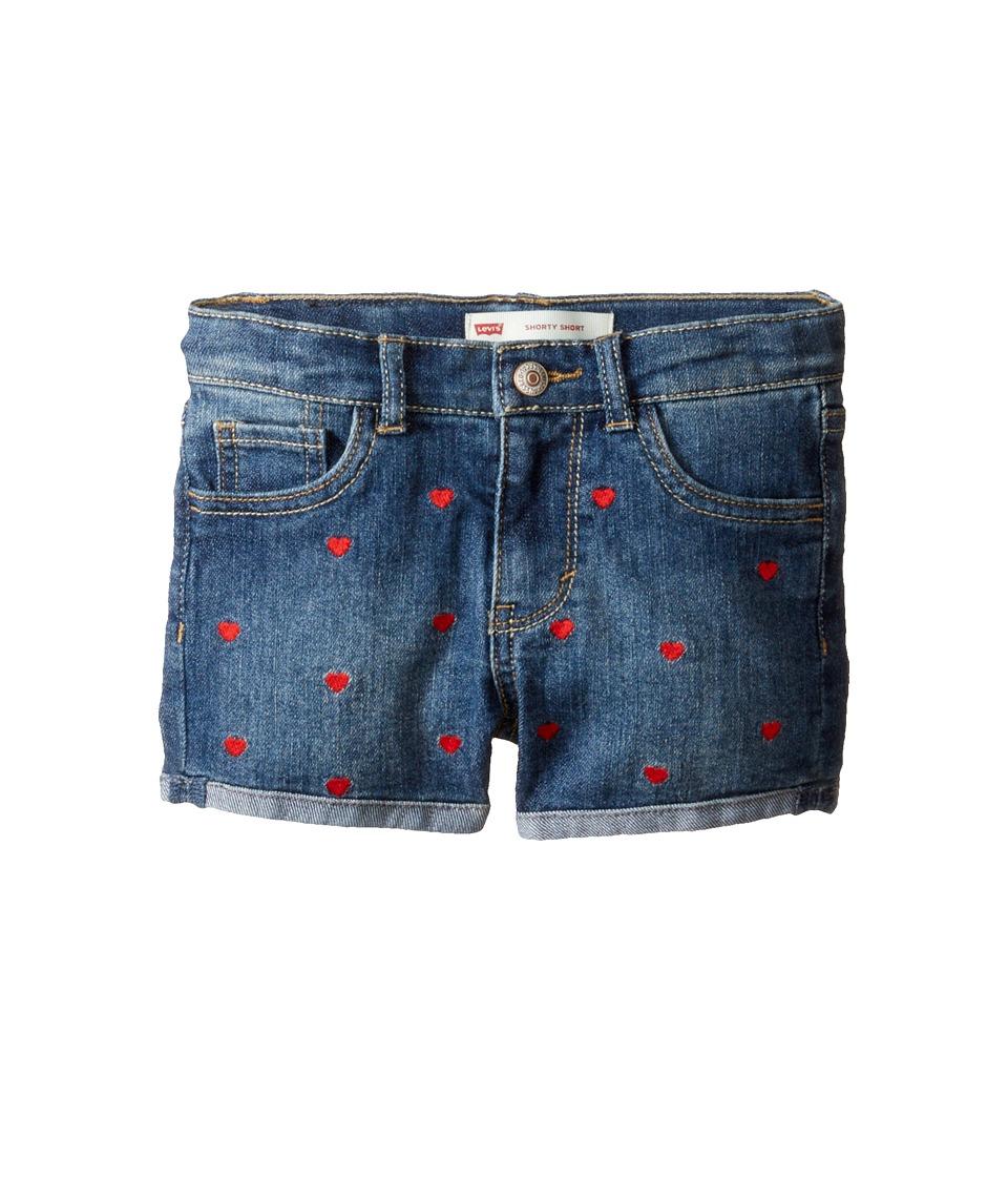 Levi's(r) Kids - Embroidery Shorty Shorts (Little Kids) (Fiji Blue) Girl's Shorts