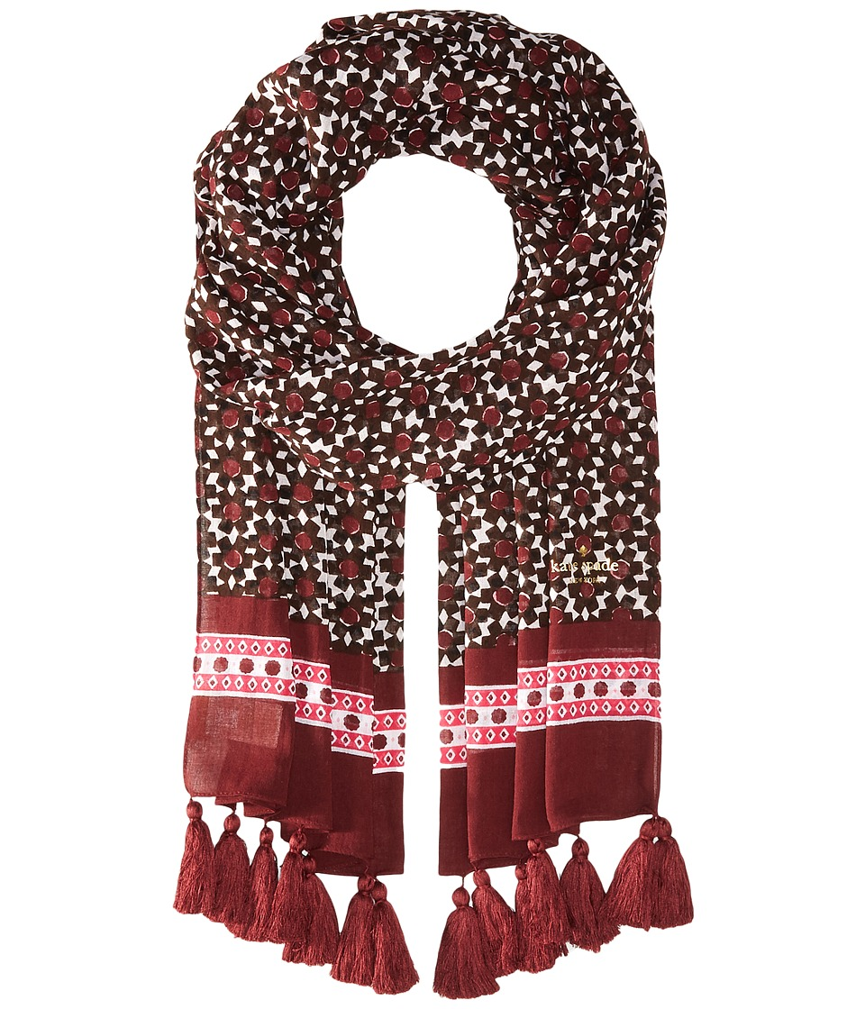 Kate Spade New York - Floral Tile Oblong Scarf (Deep Cocoa) Scarves