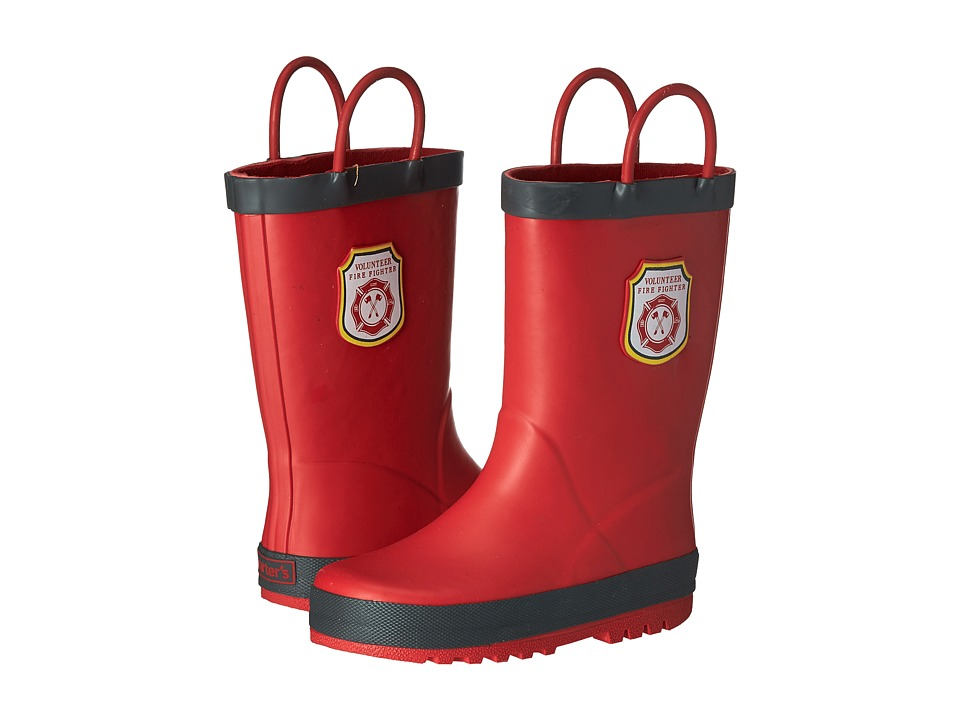 Carters - Firefighter Rain Boots (Toddler/Little Kid) (Grey/Red) Boys Shoes