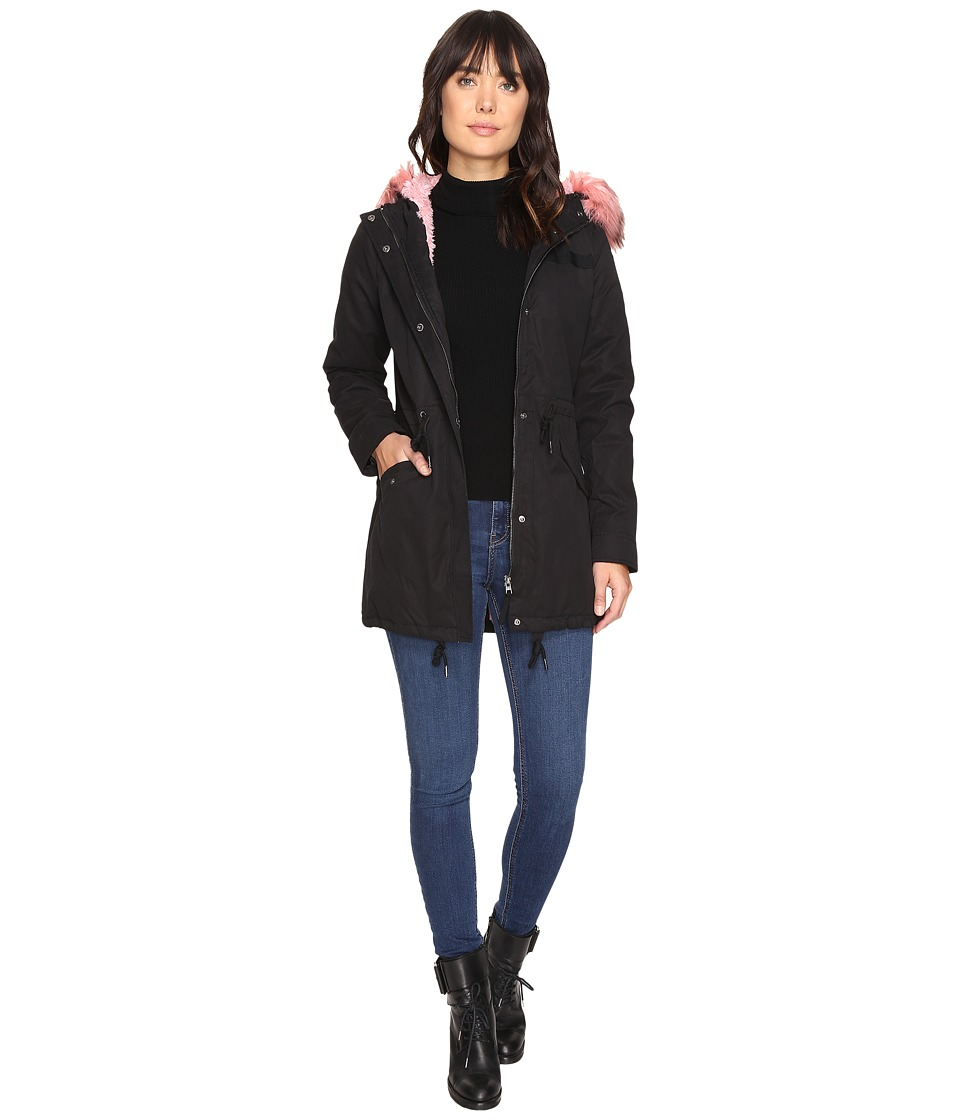 ONLY - Blog Contrast Pink Fur Parka (Black 1) Women's Coat
