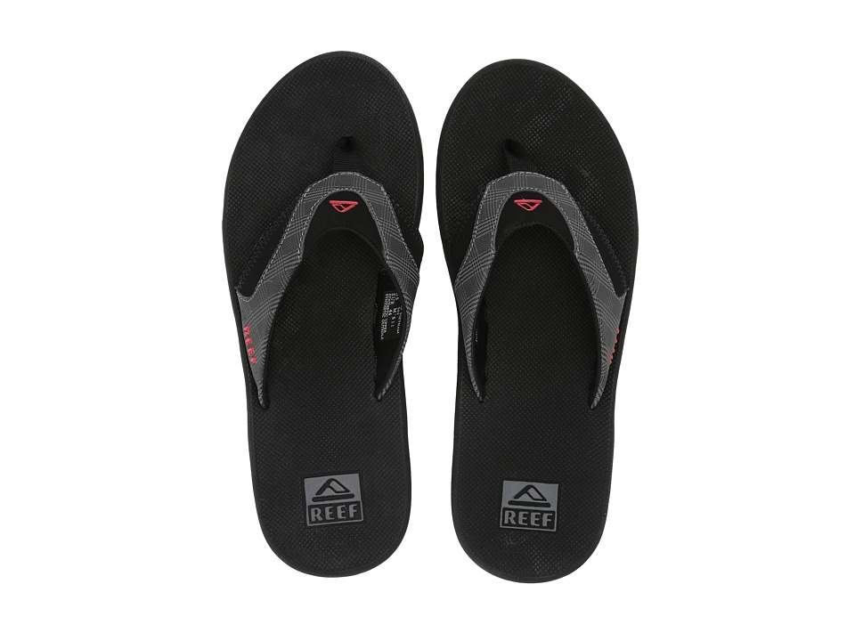 Reef - Fanning Prints (Grey Plaid/Black) Men's Sandals