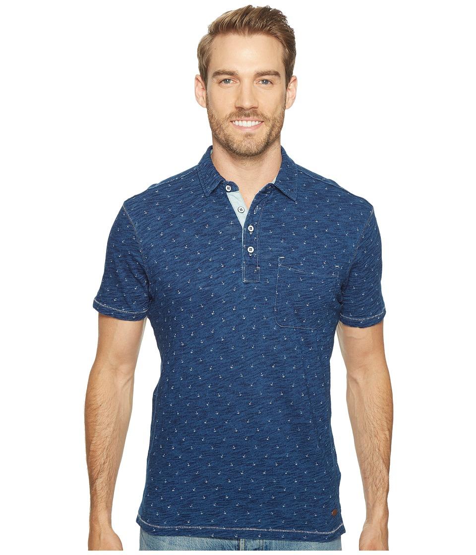 True Grit - Genuine Knit w/ Anchors Polo (Indigo) Men's Short Sleeve Knit