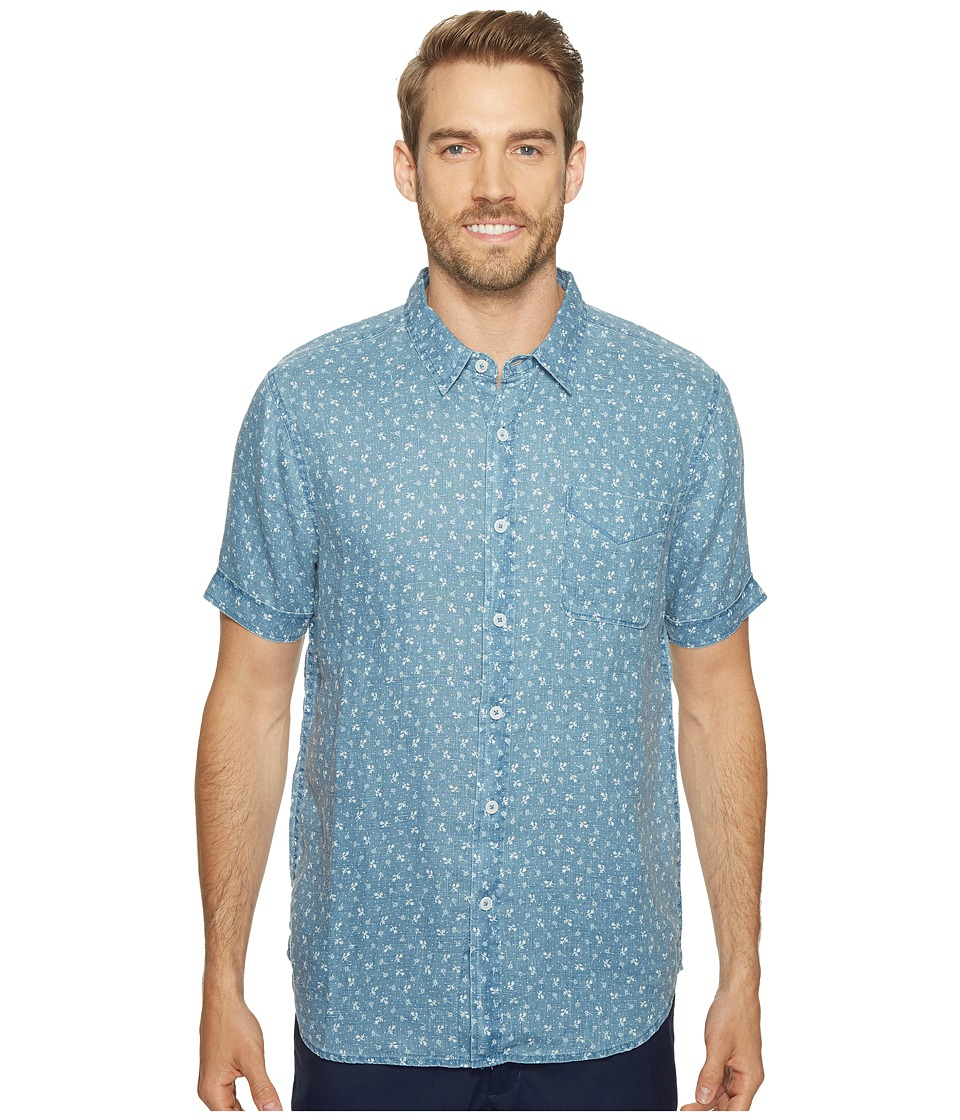 True Grit - Floral Lux Linen Short Sleeve One-Pocket Shirt (Soft Blue) Men's Clothing
