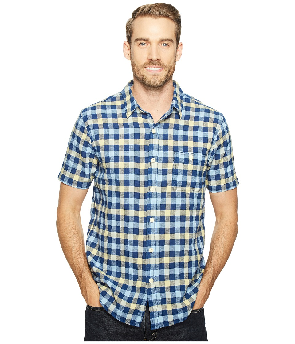 True Grit - Beach Checks Short Sleeve One-Pocket Shirt Real Indigo Yarns (Indigo Sun) Men's Clothing