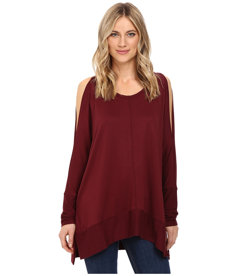 Culture Phit - Andreea Top with Side Slits (Burgundy) Women's Clothing