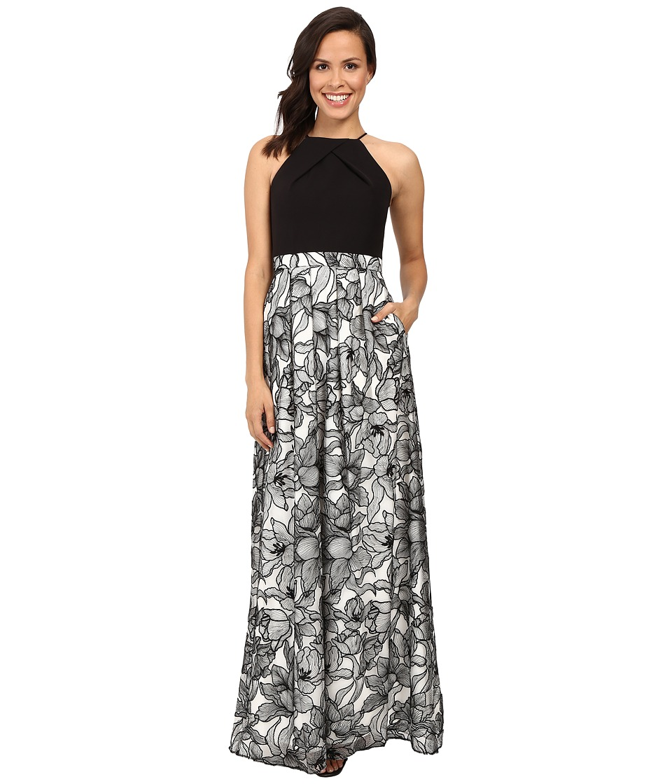 Aidan Mattox Halter Neck Gown with Embroidered Lace Skirt Black-Ivory Dress