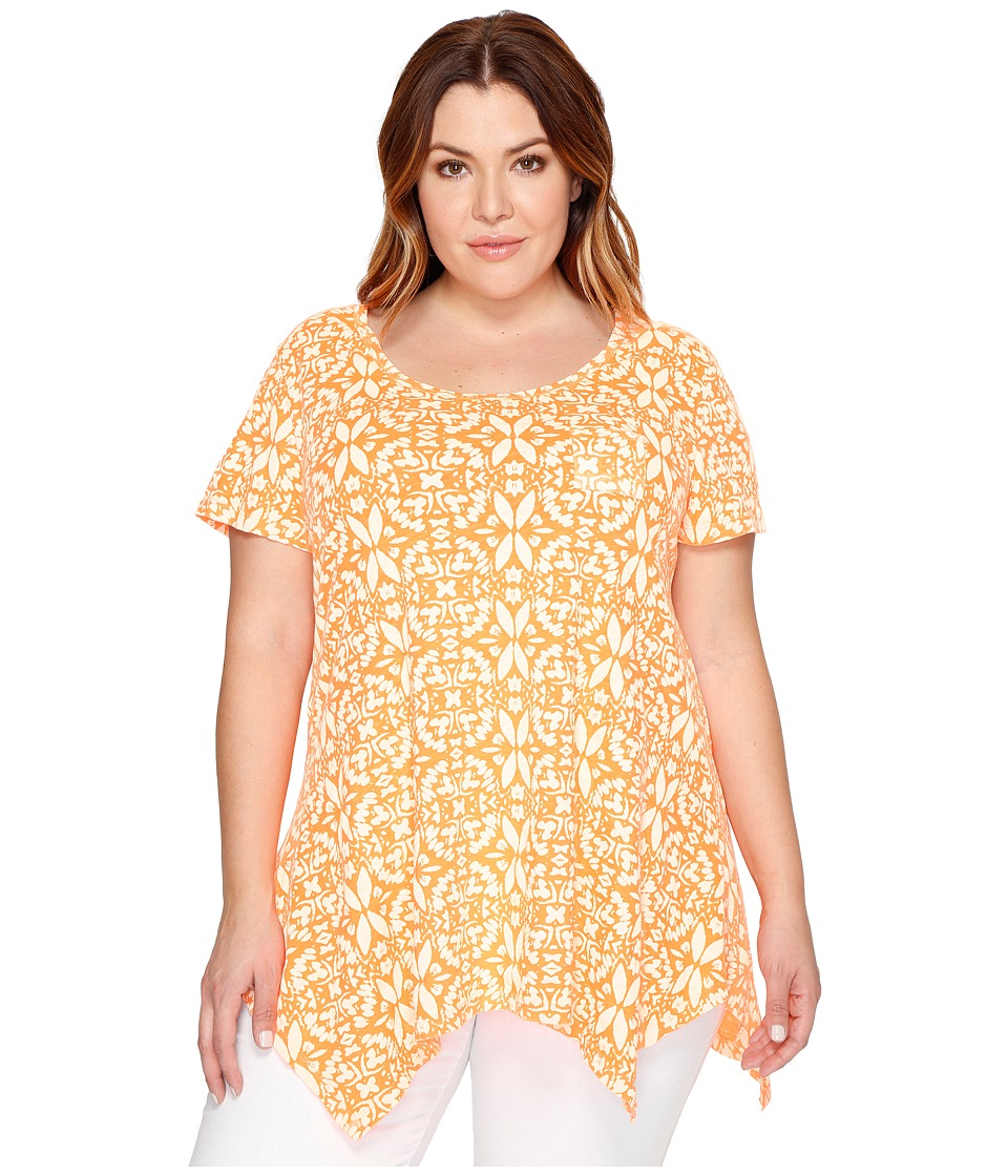 Extra Fresh by Fresh Produce - Plus Size Island Batik Vintage Drape Tee (Creamsicle) Women's T Shirt