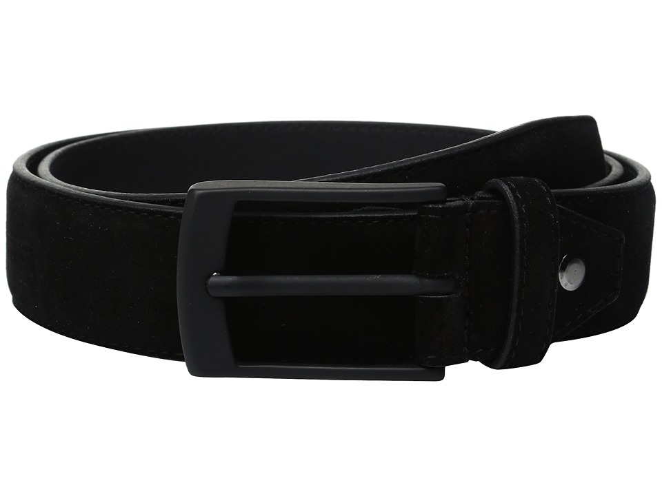 BUGATCHI - Fellini Suede Belt (Nero) Men's Belts