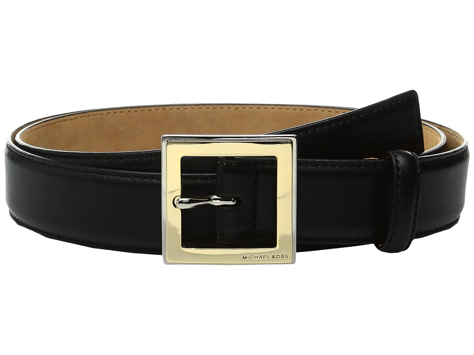 MICHAEL Michael Kors - 32mm Smooth Feather Edge Belt on Two-Tone Center Bar Buckle (Black) Women's Belts