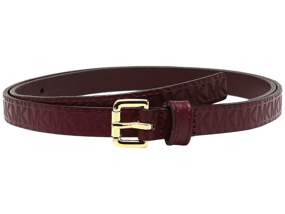 MICHAEL Michael Kors - 16mm Monogram Embossed Veg Belt on Logo Roller Buckle (Cherry) Women's Belts