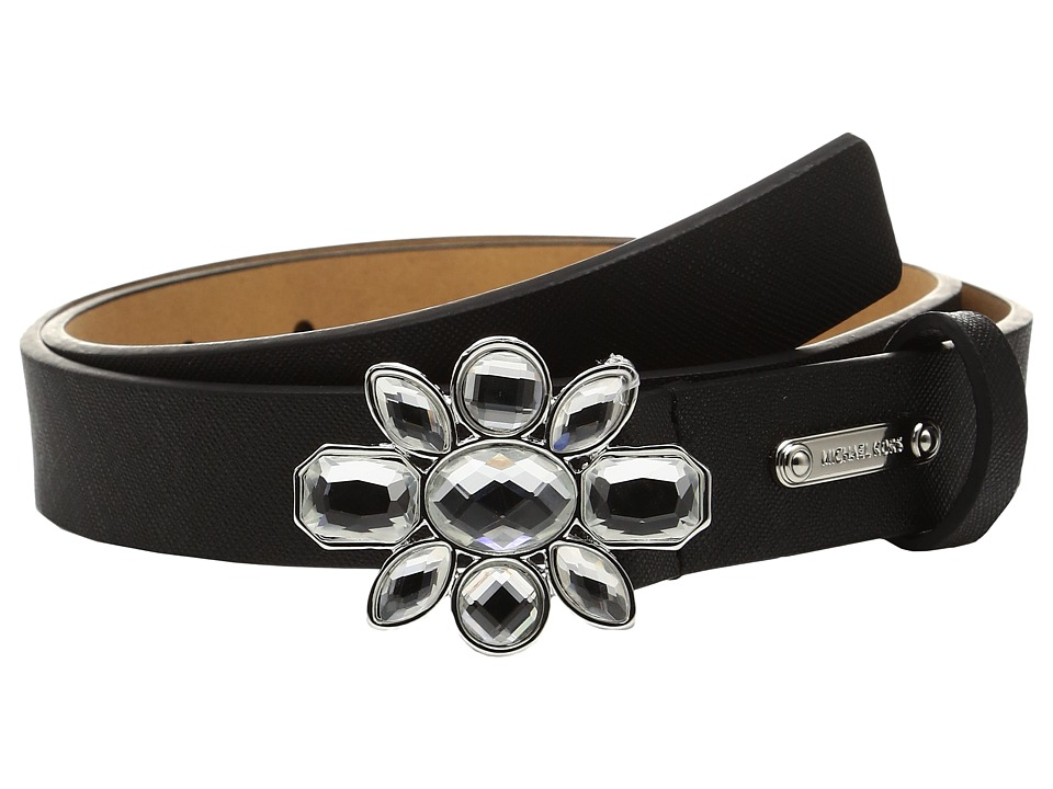 MICHAEL Michael Kors - 25mm Saffiano Belt on Jeweled Plaque Buckle (Black) Women's Belts
