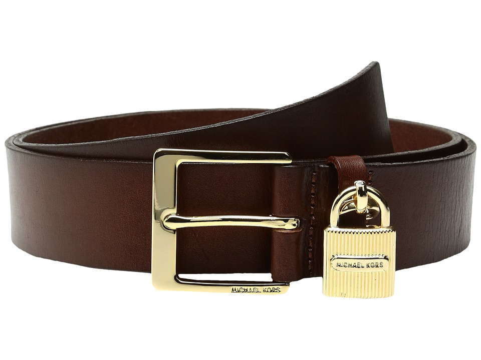 MICHAEL Michael Kors - 38mm Beg Leather Belt with Hanging Ridge Lock Charm (Luggage) Women's Belts