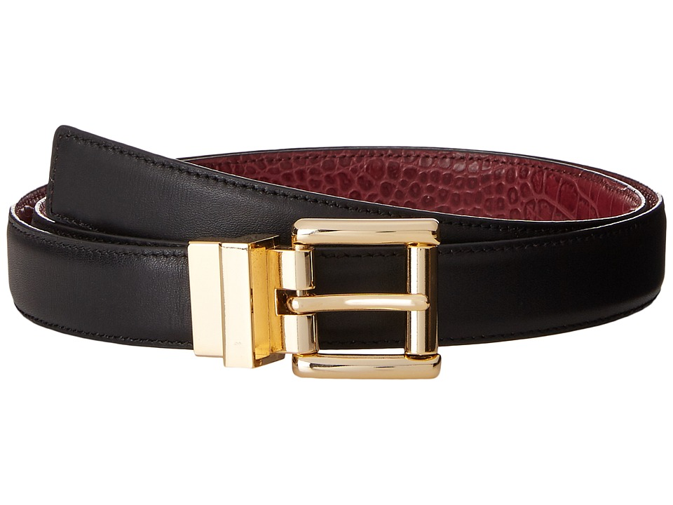 MICHAEL Michael Kors - 25mm Feather Edge Reversible Smooth to Croco Belt (Black/Cherry) Women's Belts
