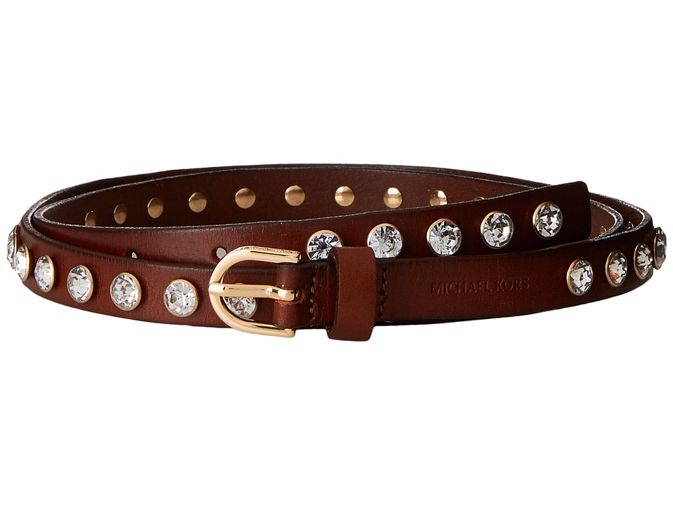 MICHAEL Michael Kors - 16mm Veg Leather Belt with All Over Crystal Studs (Luggage) Women's Belts