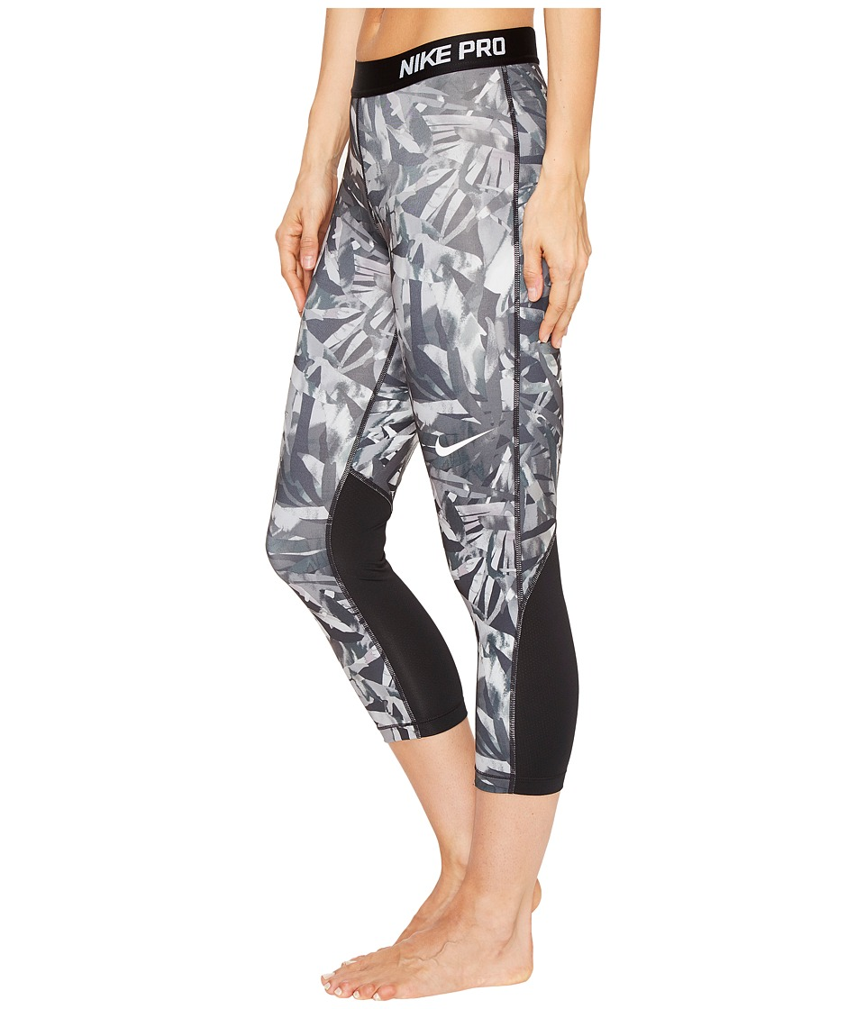 Nike Pro Cool Painted Palms Print Training Capri (Black/White) Women