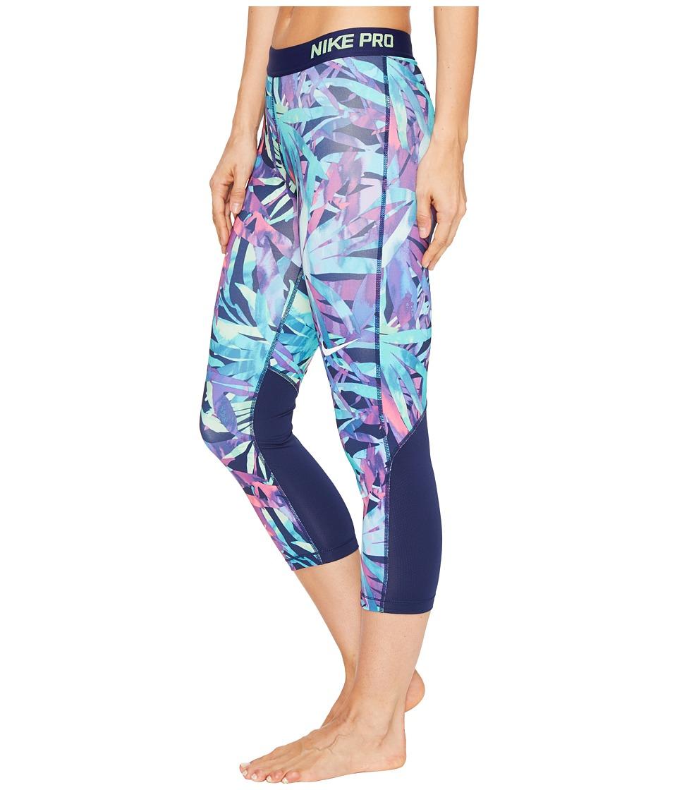 Nike - Pro Cool Painted Palms Print Training Capri (Chlorine Blue/White) Women's Capri