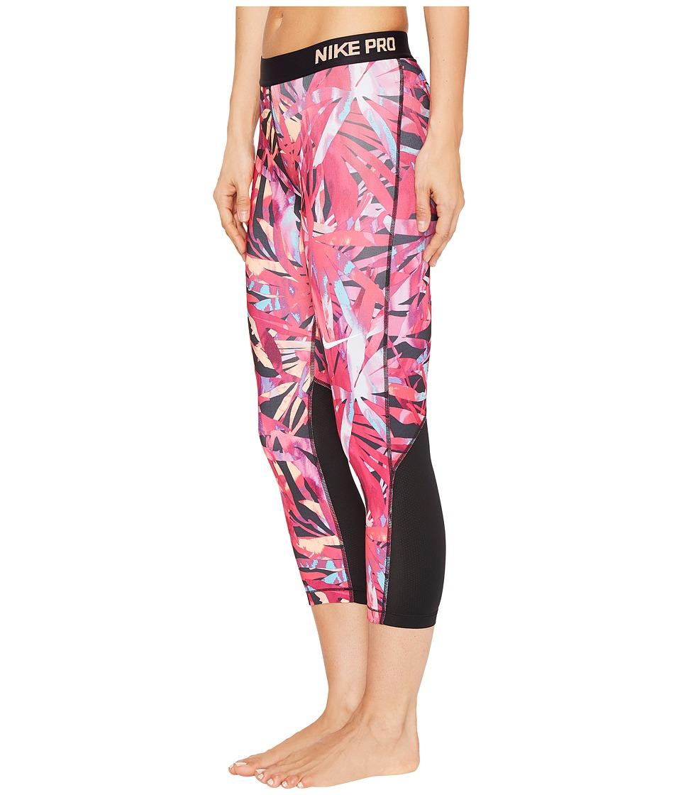 Nike - Pro Cool Painted Palms Print Training Capri (Vivid Pink/White) Women's Capri
