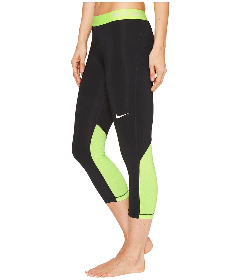 Nike Pro Cool Capris (Black/Volt/White) Women
