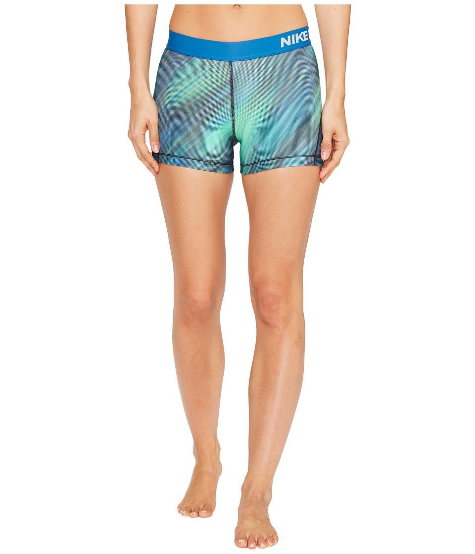 Nike - Pro Cool 3 Light Streak Print Training Short (Still Blue/White) Women's Clothing