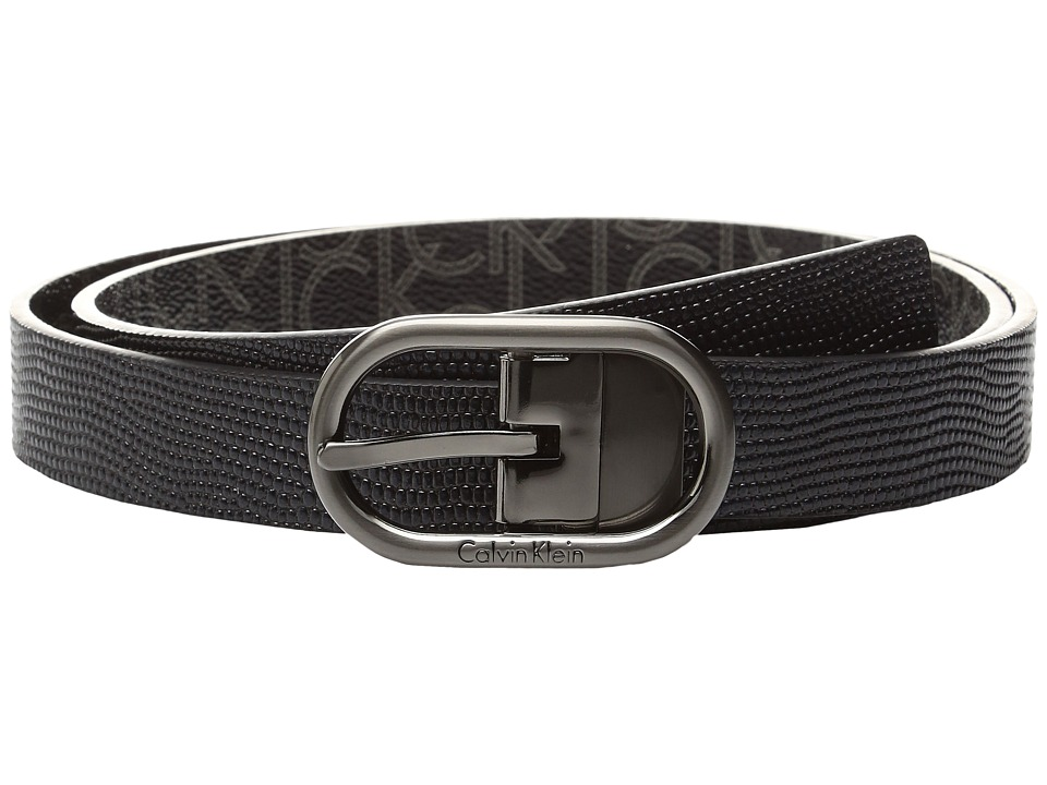 Calvin Klein - 25mm Reversible Embossed Lizard To Logo PVC Belt (Black/Black Logo) Women's Belts