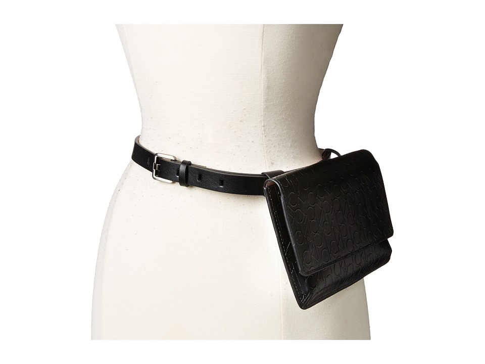 Calvin Klein - 20mm Debossed Logo Belt Bag (Black) Women's Belts
