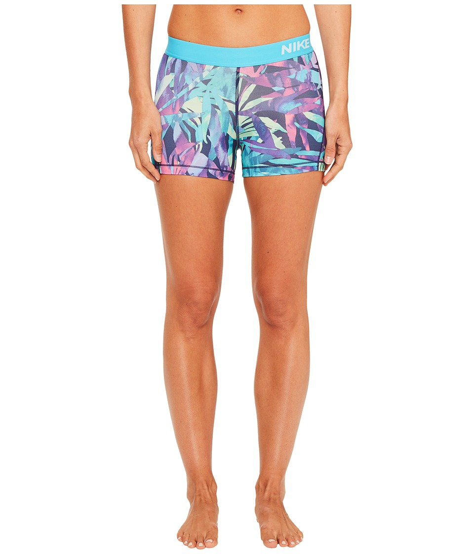 Nike - Pro Cool Palm Print Training Short (Chlorine Blue/White) Women's Shorts