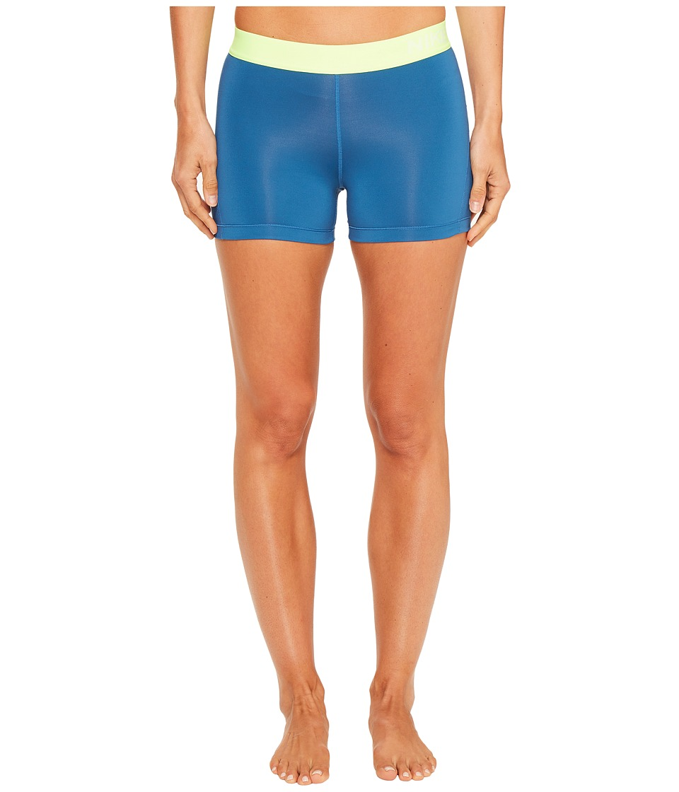 Nike - Pro 3 Cool Compression Training Short (Industrial Blue/Ghost Green/White) Women's Shorts