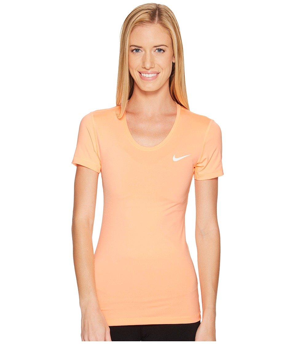 Nike Pro Cool Short Sleeve Shirt (Sunset Glow/White) Women