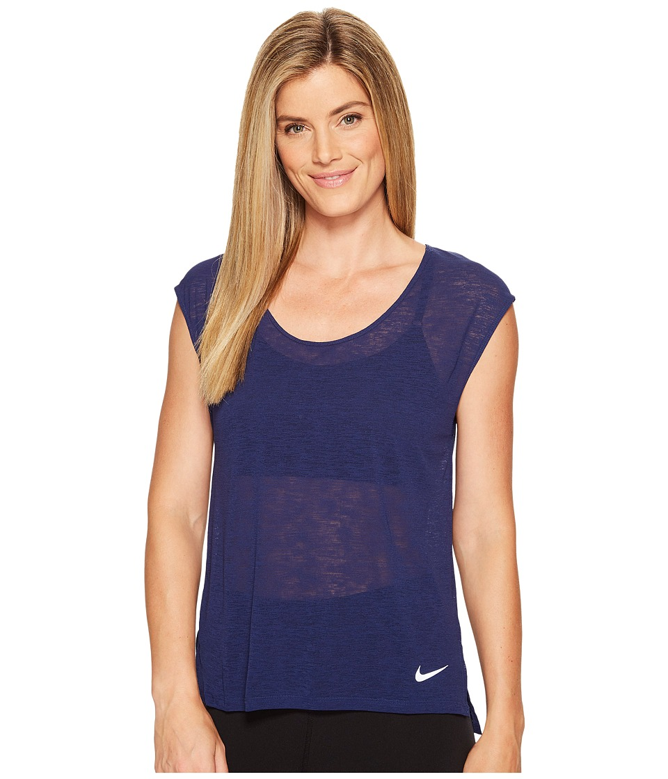 Nike - Breathe Cool Short Sleeve Running Top (Binary Blue) Women's Clothing