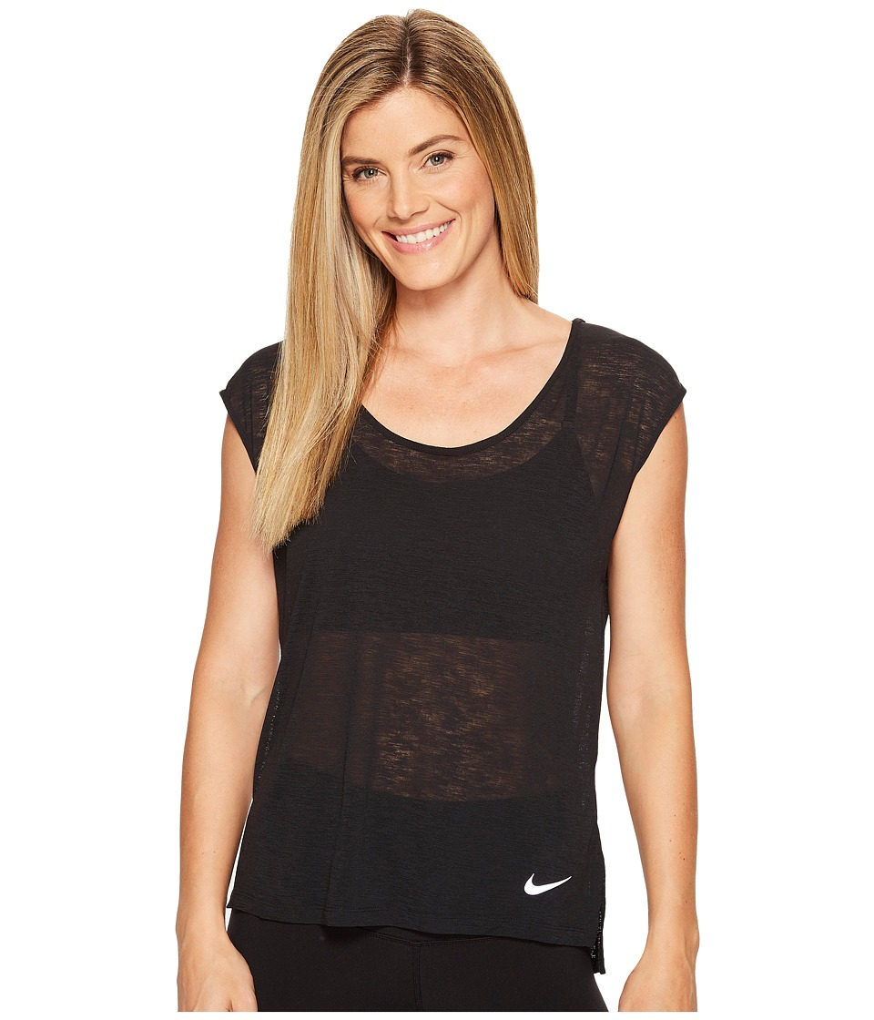Nike - Breathe Cool Short Sleeve Running Top (Black) Women's Clothing