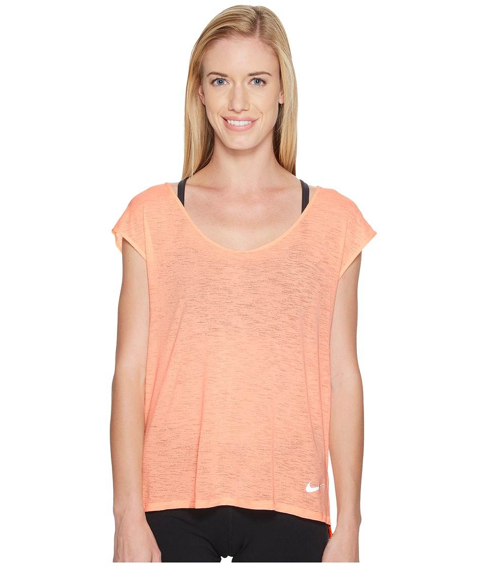 Nike - Breathe Cool Short Sleeve Running Top (Sunset Glow) Women's Clothing