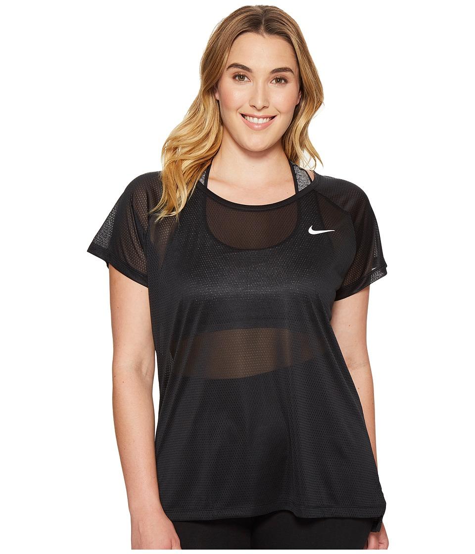 Nike - Breathe Running Top (Size 1X-3X) (Black) Women's Clothing