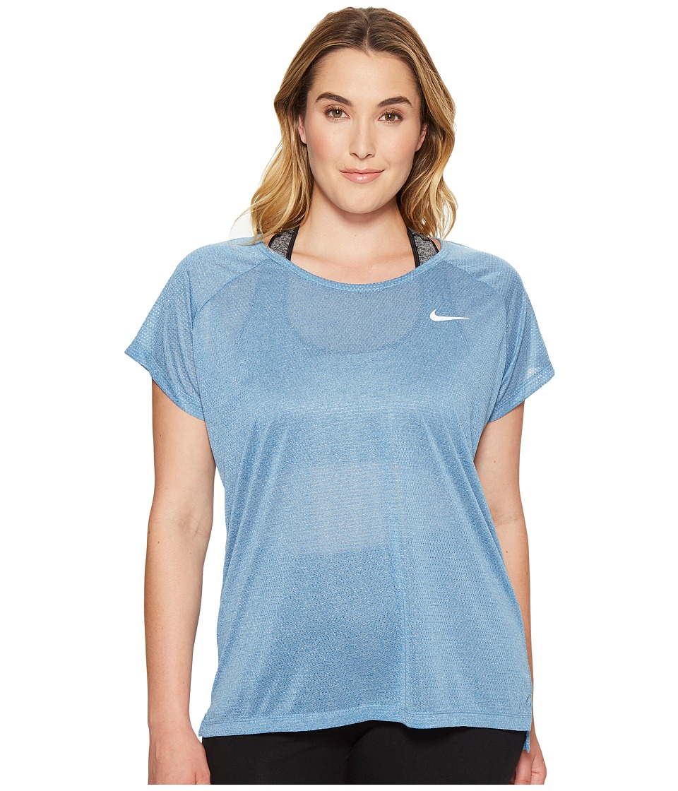 Nike - Breathe Running Top (Size 1X-3X) (Industrial Blue/Heather) Women's Clothing