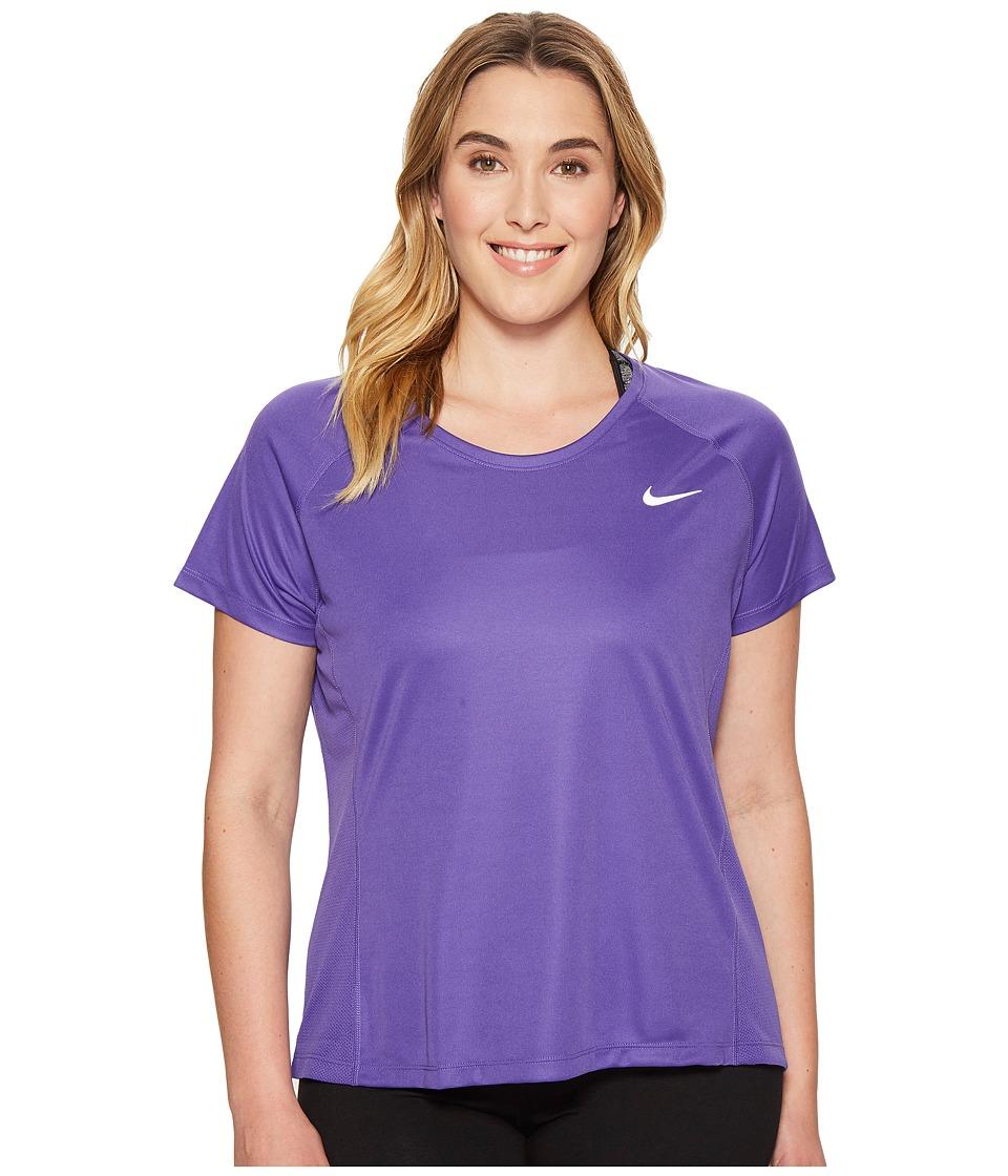 Nike - Dry Miler Short Sleeve Running Top (Size 1X-3X) (Dark Iris/Dark Raisin) Women's Clothing