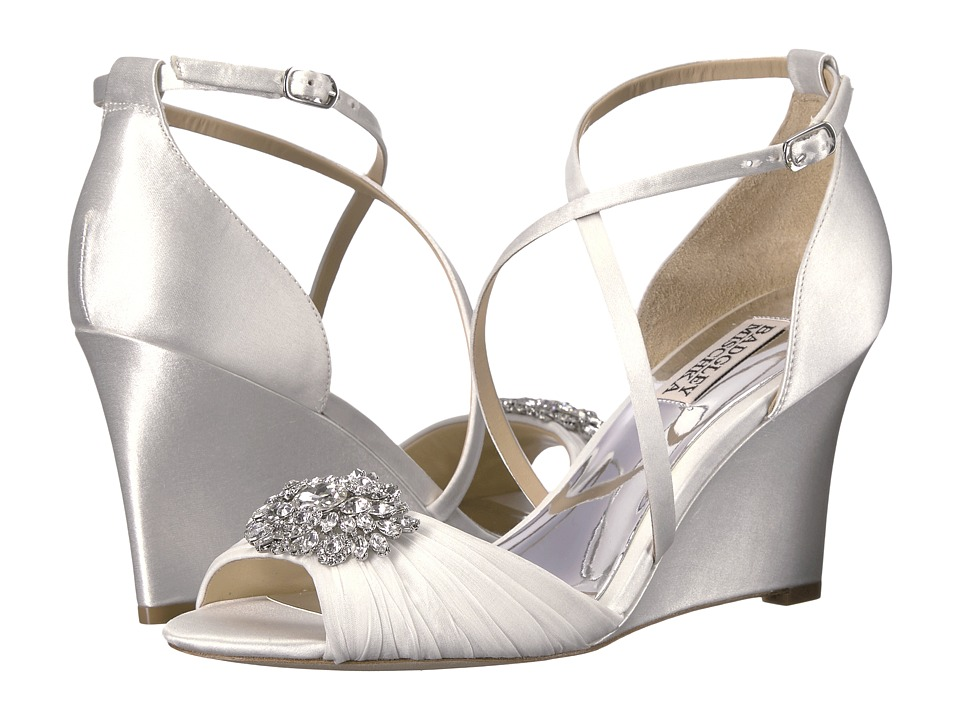 Badgley Mischka Tacey (White Satin/Silk Chiffon) Women