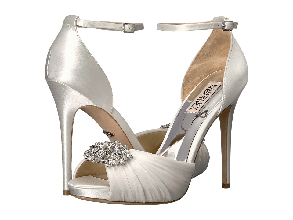 Badgley Mischka - Tad (White Satin/Silk Chiffon) High Heels