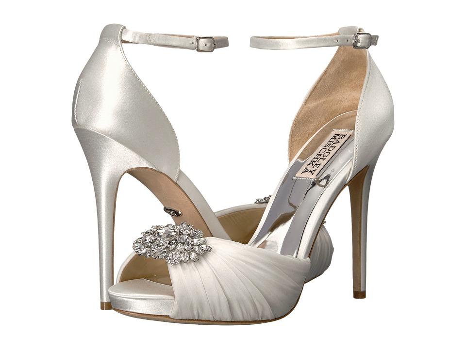 Badgley Mischka - Tad (White Satin/Silk Chiffon) High Heels