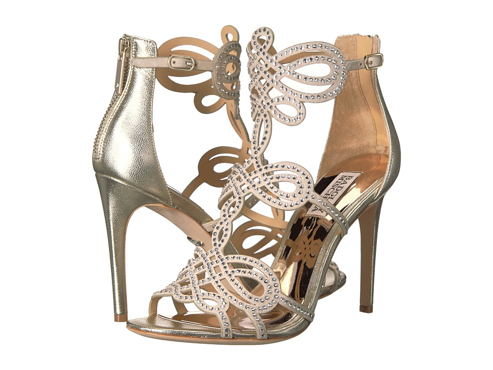 Badgley Mischka Teri Platino Metallic Suede High Heels