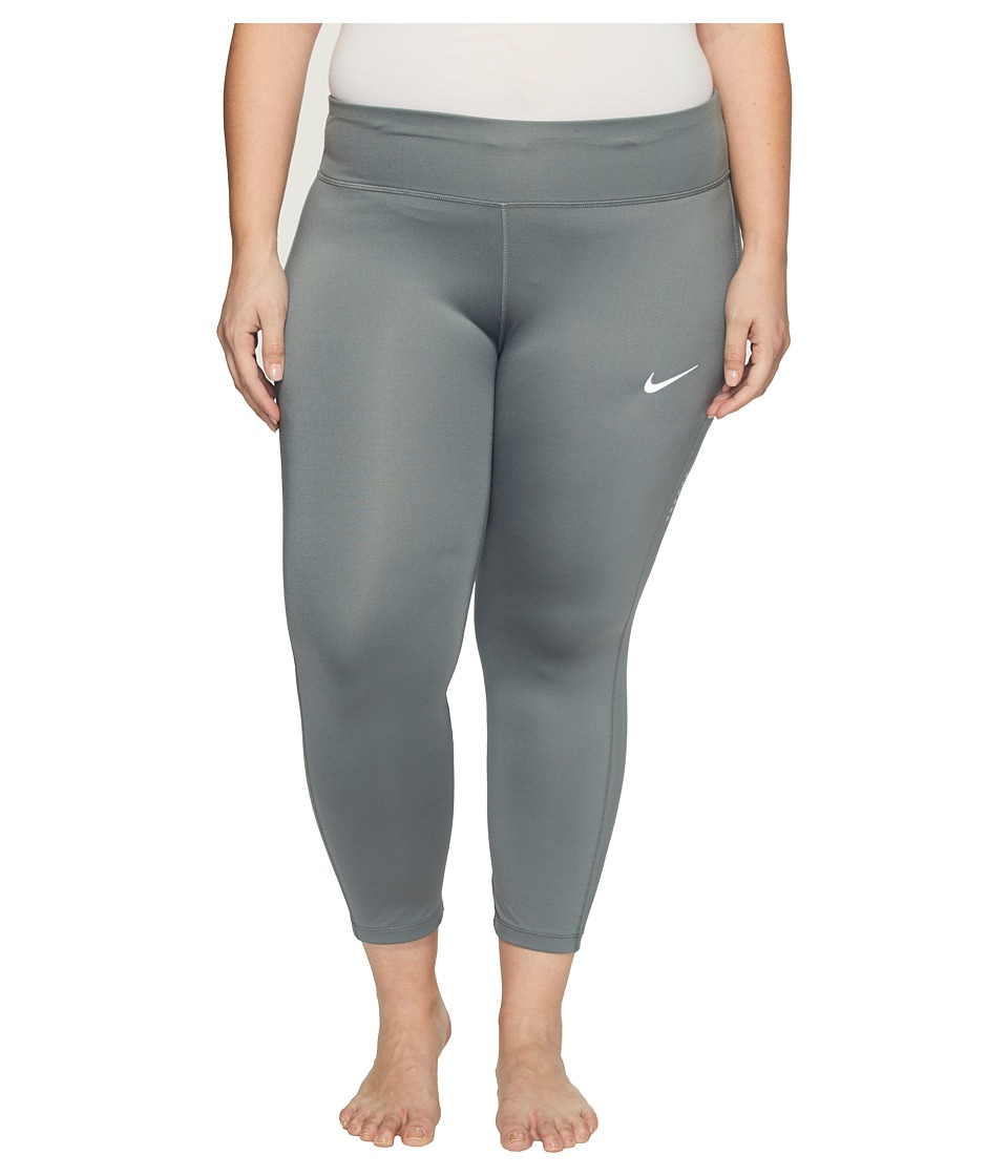 Nike - Power Essential Running Crop (Size 1X-3X) (Tumbled Grey/Tumbled Grey) Women's Clothing